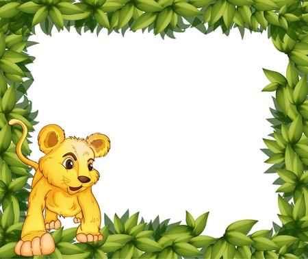 tigre bebe: Ilustraci�n de un marco con un animal