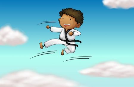 Illustration of a karate kid