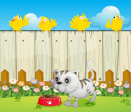 cat eating: Illustration of a white cat with a dog food and four yellow birds