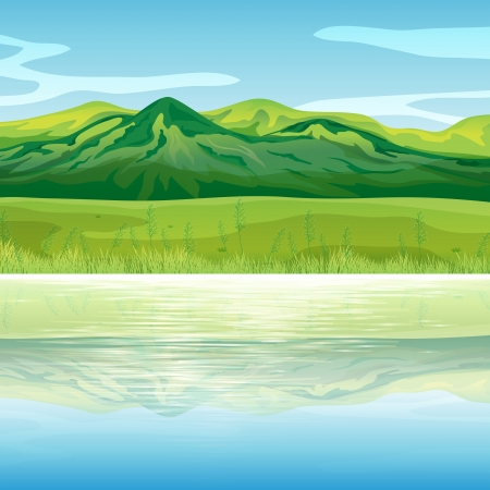 temperate: Illustration of a mountain across the lake Illustration