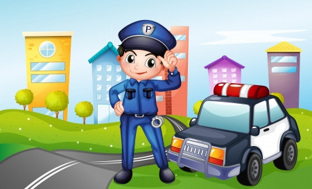 police cartoon: Illustration of a policeman with a police car along the street