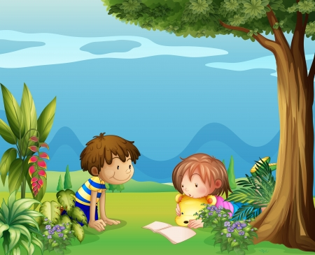 woman reading book: Illustration of a boy with a girl reading in the garden Illustration