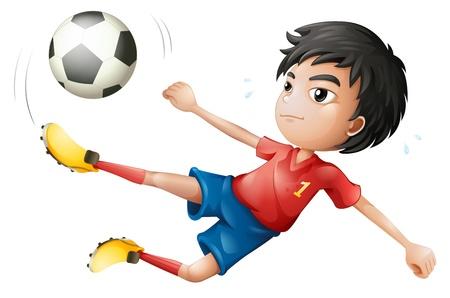 Striker: Ilustracja piłkarz na białym tle