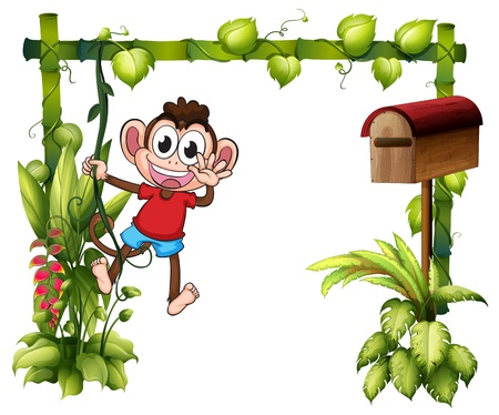 Illustration of a monkey with a wooden mailbox on a white background Vector