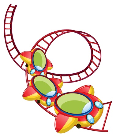 amusement park rides: Illustration of a roller coaster ride on a white background