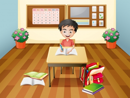 Illustration of a boy writing at the table Vector