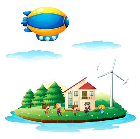 Illustration of children near the windmill Vector