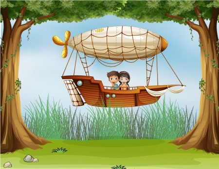 airship: Illustration of an airship at the forest
