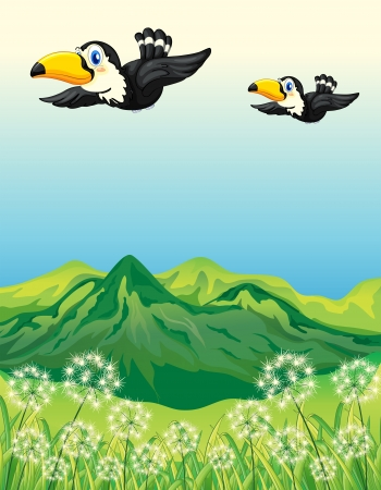Illustration of two birds flying along the mountains Vector