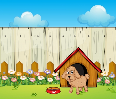 Illustration of a dog with a dog house inside the fence Vector