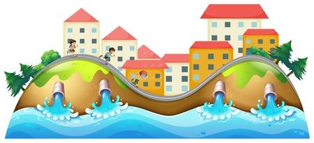 Illustratie van een dorp met drie kinderen die langs de drainage Vector Illustratie