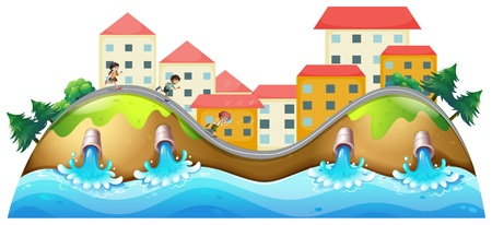 Illustration of a village with three childrens running along the drainage Vector