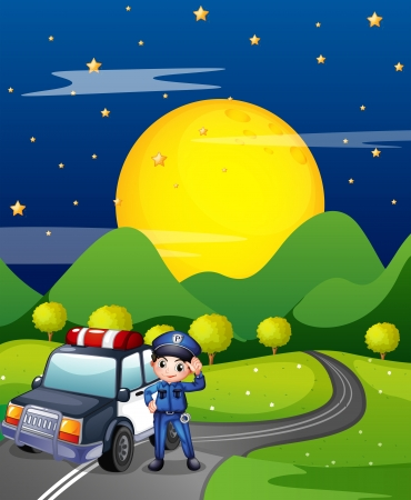 public services: Illustration of a policeman with a police car at the road Illustration