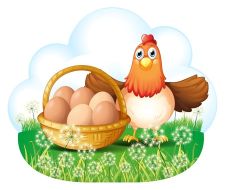 Illustration of a hen with eggs in a basket on a white background Vector