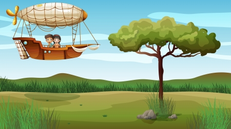 flying boat: Illustration of a girl and a boy in the aircraft Illustration
