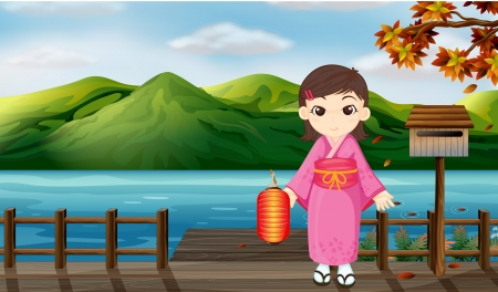 Illustration of a girl wearing a kimono holding a lantern beside a wooden mailbox Vector