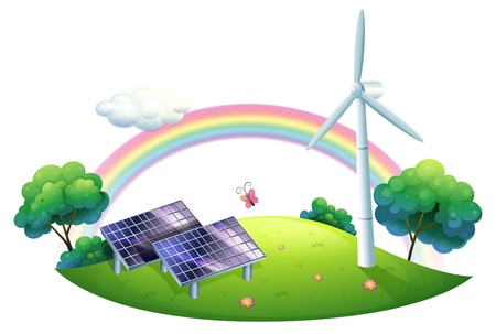 windfarm: Illustrazione di una energia solare e un mulino a vento su sfondo bianco
