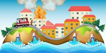 servicios publicos: Ilustraci�n de una aldea en llamas rescatada por un bombero Vectores