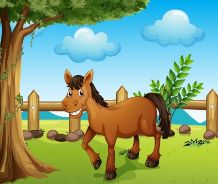wooden horse: Illustration of a horse under the tree