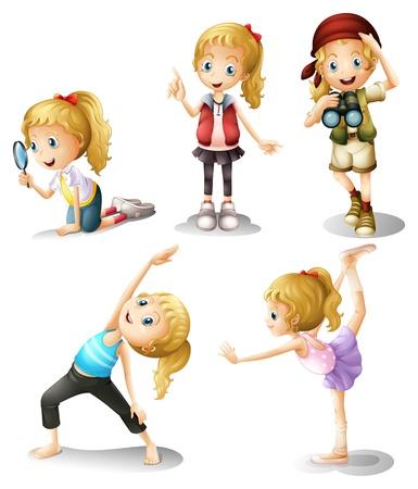 kijker: Illustratie van vijf meisjes het doen van verschillende dingen op een witte achtergrond