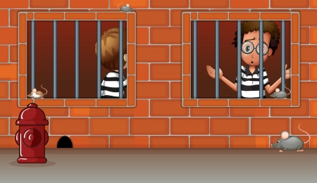 Illustration of the two boys inside the jail Vector