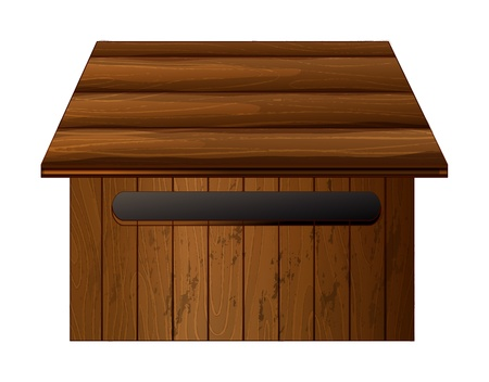 rooftop: Illustration of a mailbox made of wood on a white background
