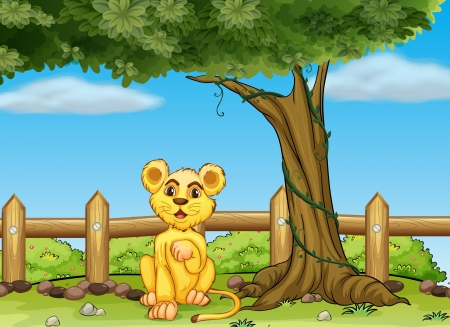 Illustration of a young tiger under the tree Vector