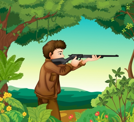 Illustration of a boy with a gun inside the forest Vector