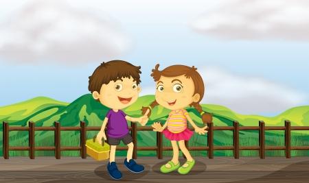 niÑos hablando: Ilustración de una chica joven y un muchacho joven en el puente de madera