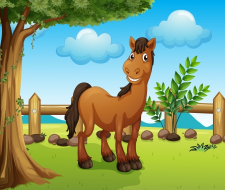 Illustration of a happy brown horse inside a fence