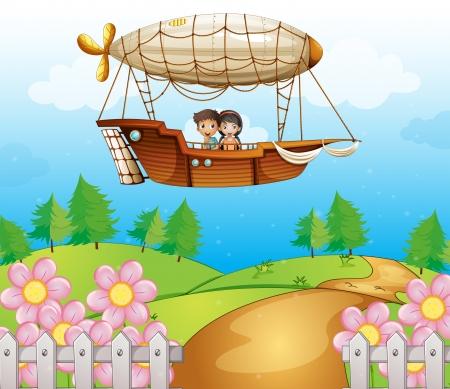 ballon dirigeable: Illustration d'un dirigeable passant par les collines avec des enfants Illustration