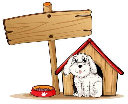 Illustration of a dog inside the dog house with a wooden signboard on a white background Vector