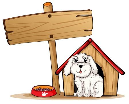 casa de perro: Ilustraci�n de un perro dentro de la casa del perro con un cartel de madera sobre un fondo blanco