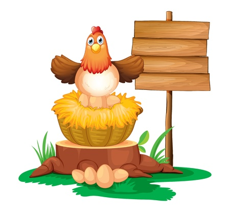 Illustration of a hen hatching eggs with a wooden signboard on a white background Vector