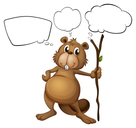 Illustration of a beaver holding a stick with empty callouts on a white background Stock Vector - 18052877