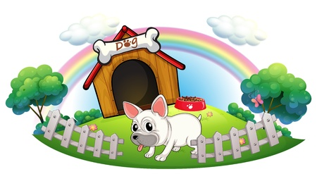 doghouse: Illustration of a dog in a doghouse with fence