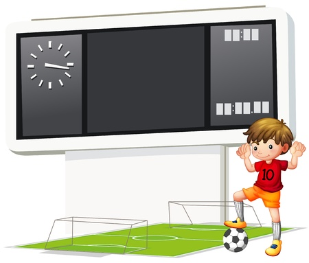 Illustration of a boy playing soccer at the court on a white backgound Vector