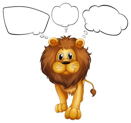 Ilustración de un león fuerte con llamadas vacías sobre un fondo blanco Ilustración de vector