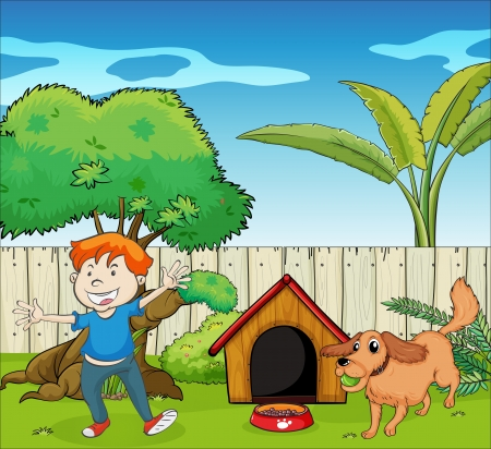 Illustration of a boy dancing along with the dog Vector