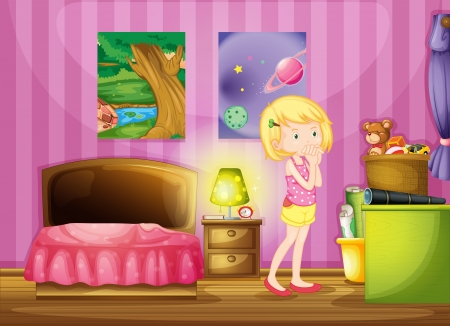 Illustration of a girl wishing inside her room Vector