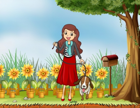 lllustration: lllustration of a woman with a dog at the garden