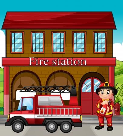 servicios publicos: Ilustraci�n de un bombero con un cami�n de bomberos en una estaci�n de bomberos
