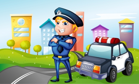 cartoon police officer: Illustration of a smiling policeman at the road