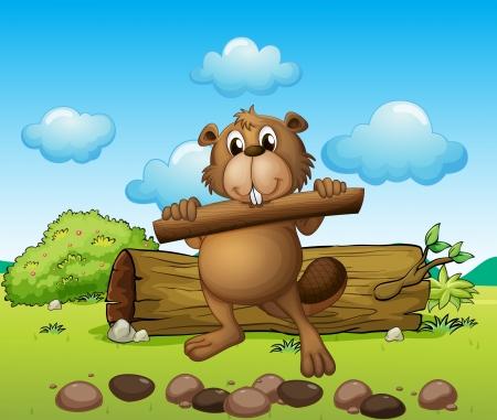 nutria caricatura: Ilustración de un castor con un trozo de madera Vectores