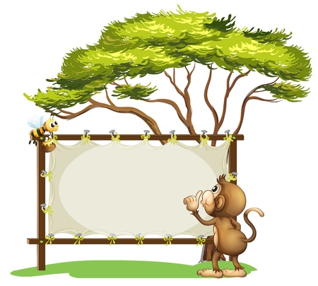 Illustration of an empty signage with a monkey and a bee on a white background Vector