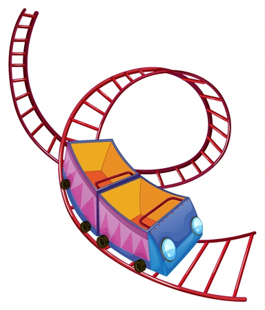 roller coaster: Illustration of a roller coaster ride on a white background