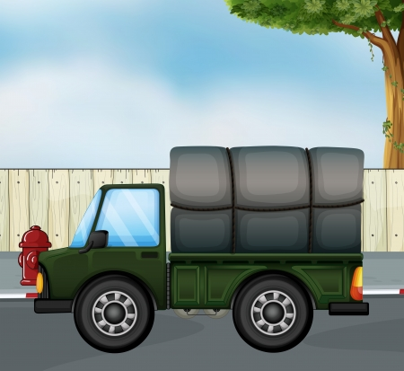 Illustration of a green track with a cargo at the back Vector