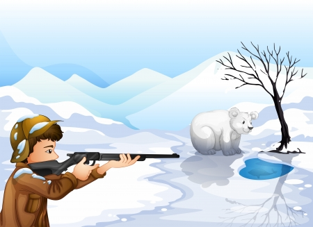 shooter: Illustration of a boy the shooting bear Illustration