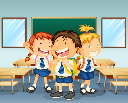 children in class: Illustration of three children smiling inside the classroom