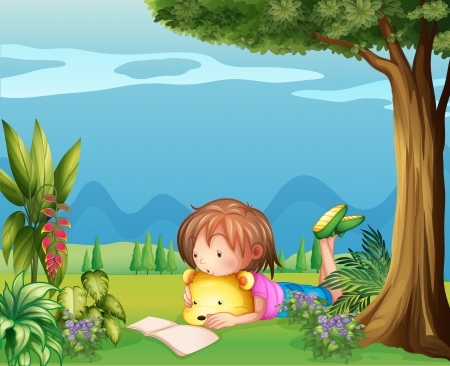 garden stuff: Illustration of a girl with a bear reading a book